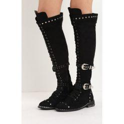 Czarne Zamszowe Kozaki Tainted Love. Czarne buty zimowe damskie Born2be, z zamszu, przed kolano, na wysokim obcasie, na obcasie. Za 179,99 zł.