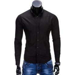 KOSZULA MĘSKA ELEGANCKA Z DŁUGIM RĘKAWEM K219 - CZARNA. Brązowe koszule męskie na spinki marki Ombre Clothing, m, z aplikacjami, z kontrastowym kołnierzykiem, z długim rękawem. Za 49,00 zł.