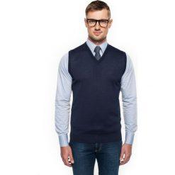 Swetry klasyczne męskie: sweter veneto w serek granatowy