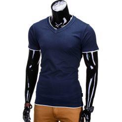 T-shirty męskie: T-SHIRT MĘSKI BEZ NADRUKU S678 – GRANATOWA