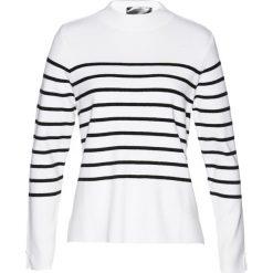 Swetry klasyczne damskie: Sweter bonprix biało-czarny w paski