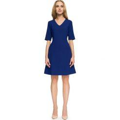 Sukienka trapezowa krótki rękaw s027. Niebieskie sukienki mini marki SaF, na co dzień, xl, z żakardem, z asymetrycznym kołnierzem, dopasowane. Za 145,90 zł.