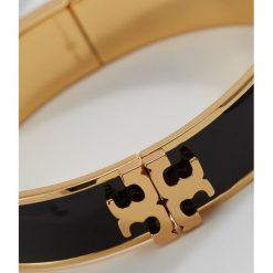 Biżuteria i zegarki: Tory Burch RAISED LOGO THIN ENAMEL HINGED BRACELET Bransoletka black goldcoloured