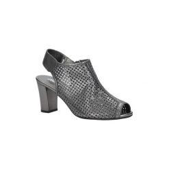 Rzymianki damskie: Sandały Jezzi  Srebrne sandały ażurowe na obcasie  SA107-2