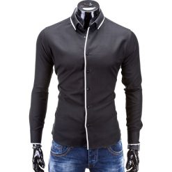 KOSZULA MĘSKA Z DŁUGIM RĘKAWEM K259 - CZARNA. Czarne koszule męskie na spinki Ombre Clothing, m, z bawełny, z kontrastowym kołnierzykiem, z długim rękawem. Za 49,00 zł.