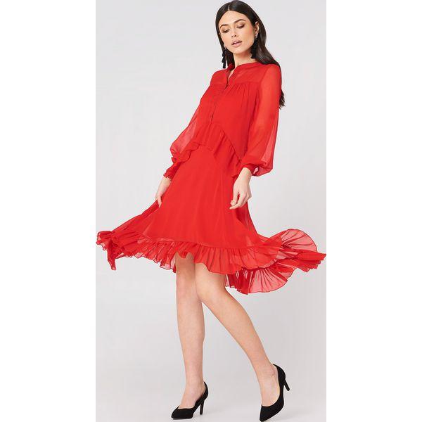 3ee412b79b NA-KD Boho Sukienka z falbanką - Red - Czerwone sukienki damskie NA ...