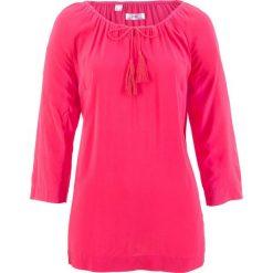 Bluzki, topy, tuniki: Bluzka z dekoltem carmen, rękawy 3/4 bonprix różowy hibiskus