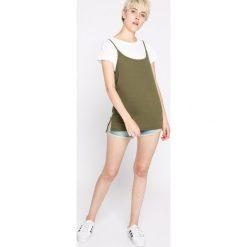 Vero Moda - Top. Szare topy damskie marki Vero Moda, l, z bawełny, z okrągłym kołnierzem. W wyprzedaży za 29,90 zł.