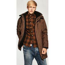 Płaszcze przejściowe męskie: Ciepły płaszcz z kapturem – Brązowy