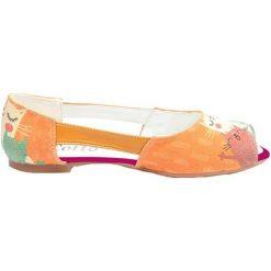 Baleriny damskie lakierowane: Baleriny w kolorze pomarańczowym ze wzorem
