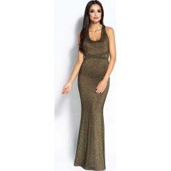 Złota Sukienka Syrena z Odkrytymi Plecami. Żółte długie sukienki Molly.pl, na imprezę, l, z tkaniny, wizytowe, z długim rękawem, ołówkowe. Za 299,90 zł.