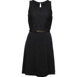 Sukienka z dżerseju z paskiem bonprix czarny. Czarne sukienki balowe bonprix, z dżerseju, z okrągłym kołnierzem. Za 149,99 zł.