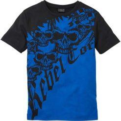 T-shirt Slim Fit bonprix lazurowo-czarny. Niebieskie t-shirty męskie z nadrukiem bonprix, l. Za 34,99 zł.