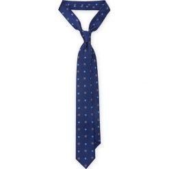 KRAWAT GRANATOWY W KWIATKI. Niebieskie krawaty męskie LANCERTO, w kwiaty, z jedwabiu, eleganckie. Za 139,90 zł.