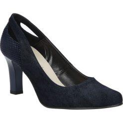 Granatowe czółenka na słupku z wycięciem na pięcie Casu 3069. Czarne buty ślubne damskie marki Casu, na słupku. Za 78,99 zł.