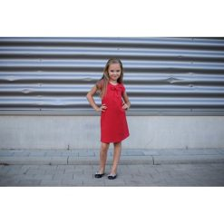 Sukienka Z Kokardką Czerwona. Czerwone sukienki dziewczęce z falbanami Pakamera, eleganckie. Za 69,00 zł.