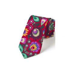 Krawat męski FOLK  w kwiaty łowickie czerwony. Czerwone krawaty męskie HisOutfit, w kwiaty, z materiału. Za 129,00 zł.