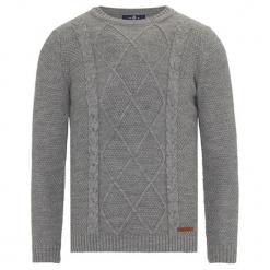 Sweter w kolorze szarym. Szare swetry klasyczne męskie Jimmy Sanders, m, ze splotem, z okrągłym kołnierzem. W wyprzedaży za 99,95 zł.