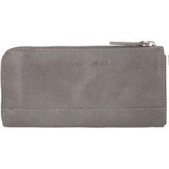 """Portfele damskie: Skórzany portfel """"Helston"""" w kolorze szarym – 19 x 9,5 x 2 cm"""