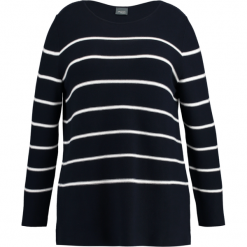 Swetry klasyczne damskie: Persona by Marina Rinaldi AFRICA Sweter navy/white