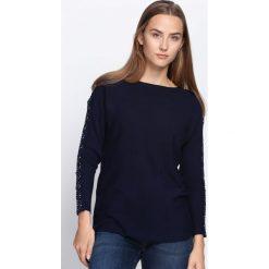 Granatowy Sweter Love Street. Niebieskie swetry klasyczne damskie Born2be, l, z koronki, z dekoltem w łódkę. Za 74,99 zł.