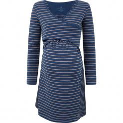 Sukienka ciążowa w kolorze beżowo-granatowym do karmienia. Niebieskie sukienki ciążowe marki bellybutton, xs, w paski, z kopertowym dekoltem, maxi. W wyprzedaży za 173,95 zł.