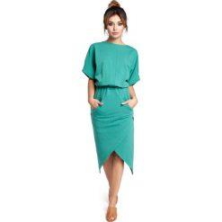 Zielona Sukienka z Kopertowo Zakładanym Dołem. Szare sukienki balowe marki bonprix, melanż, z dresówki, z kapturem, z długim rękawem, maxi. Za 139,90 zł.