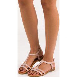 Sandały damskie: DANIELA różowe płaskie sandały