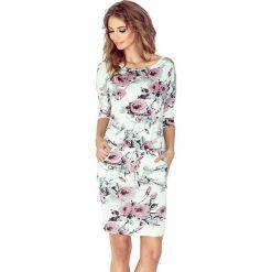 Biała Sukienka Ściągana w Róże. Różowe sukienki na komunię marki numoco, l, z dekoltem w łódkę, oversize. Za 119,90 zł.