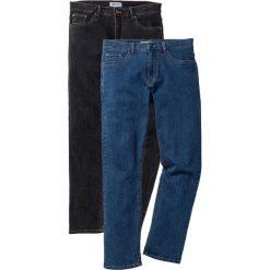 Dżinsy ze stretchem Regular Fit Straight (2 pary) bonprix niebieski + czarny. Niebieskie jeansy męskie regular bonprix. Za 179,98 zł.
