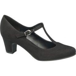Czółenka damskie Graceland czarne. Czarne czółenka zamszowe marki Graceland, w kolorowe wzory. Za 89,90 zł.