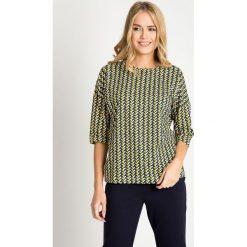 Bluzki damskie: Granatowa bluzka w żółtą jodełkę QUIOSQUE