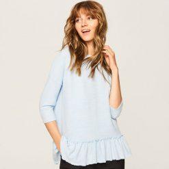 Sweter z falbaną - Niebieski. Niebieskie swetry klasyczne damskie Reserved, l. Za 59,99 zł.
