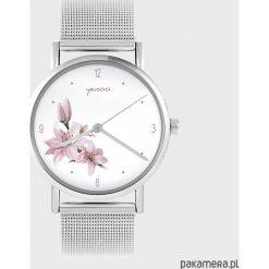 Zegarki damskie: Zegarek - Różowa lilia - metalowy
