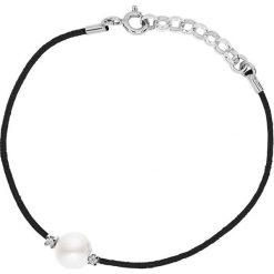 Bransoletki damskie: Bransoletka w kolorze czarnym z perłą i diamentami