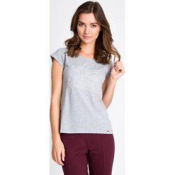 Bluzki damskie: Szara bluzka z prostym wzorem QUIOSQUE