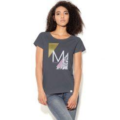 Bluzki, topy, tuniki: Colour Pleasure Koszulka damska CP-034  38 szaro-biało-żółto-różowa r. XS-S