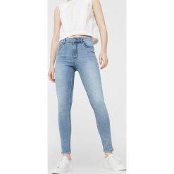 Mango - Jeansy. Niebieskie jeansy damskie rurki Mango, z podwyższonym stanem. W wyprzedaży za 99,90 zł.