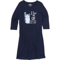 Koszula nocna, rękawy 3/4 bonprix ciemnoniebieski z nadrukiem. Niebieskie koszule nocne i halki bonprix, w kolorowe wzory, z materiału. Za 37,99 zł.