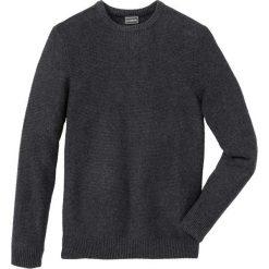 Sweter w strukturalny wzór z bawełny z recyclingu Regular Fit bonprix antracytowy melanż. Szare swetry klasyczne męskie marki bonprix, l, melanż, z bawełny. Za 89,99 zł.