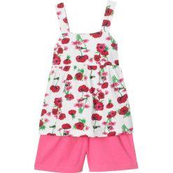 Długi top + szorty (2 części) bonprix biel wełny - różowy. Czarne bluzki dziewczęce na lato marki bonprix, z nadrukiem. Za 44,99 zł.