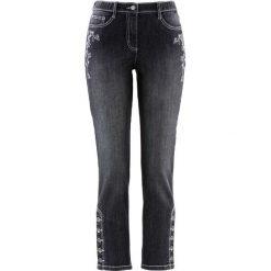 Dżinsy ludowe 7/8 z haftem, wąskie nogawki bonprix antracytowy denim. Niebieskie jeansy damskie marki House, z jeansu. Za 54,99 zł.