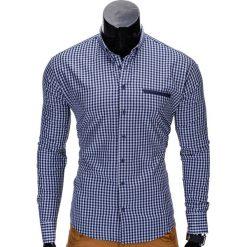 KOSZULA MĘSKA W KRATĘ Z DŁUGIM RĘKAWEM K319 - GRANATOWA. Niebieskie koszule męskie na spinki marki Ombre Clothing, m, z bawełny, z kontrastowym kołnierzykiem, z długim rękawem. Za 59,00 zł.
