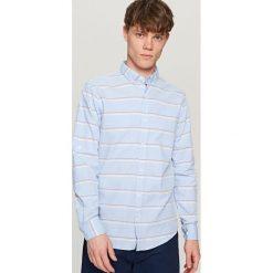 Koszule męskie: Koszula w paski – Niebieski