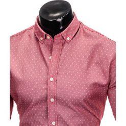 KOSZULA MĘSKA Z DŁUGIM RĘKAWEM K395 - CZERWONA. Brązowe koszule męskie na spinki marki Ombre Clothing, m, z aplikacjami, z kontrastowym kołnierzykiem, z długim rękawem. Za 69,00 zł.