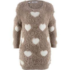 Swetry damskie: Długi sweter, rękawy 3/4 bonprix brunatno-biel wełny wzorzysty