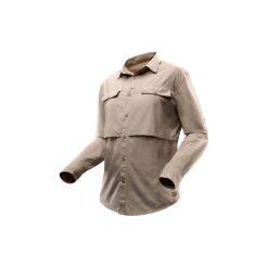 Koszula turystyczna długi rękaw DESERT 500 męska. Brązowe koszule męskie na spinki marki FORCLAZ, m, z materiału, z długim rękawem. Za 99,99 zł.