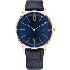"""Zegarek kwarcowy """"Cooper"""" w kolorze niebiesko-różowozłotym. Niebieskie, analogowe zegarki męskie TOMMY HILFIGER, ze stali. W wyprzedaży za 409,95 zł."""