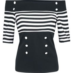 Belsira Jersey-Top Koszulka damska czarny/biały. Białe bluzki asymetryczne Belsira, l, w paski, z jersey. Za 199,90 zł.