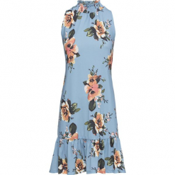 Sukienka w kwiaty bonprix jasnoniebieski kwiaty. Niebieskie sukienki letnie marki ARTENGO, z elastanu, ze stójką. Za 59,99 zł.
